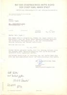 Brief Lettre - Rat Des Stadtbezikes Der Stadt Karl Marx Stadt - 1977 - Vieux Papiers