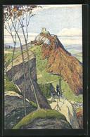 Künstler-AK Carl Moos: Ruine Landskron Mit Wanderer Auf Weg - Moos, Carl