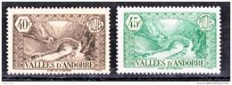 Andorre  62 63  1/4 De Cote Paysages 1937 Neuf ** MNH Sin Charmela Cote 16 - Andorre Français