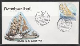 OBLIT. GF ILLUSTRÉE ARMADA LIBERTE - ROUEN 7/94 - Voiliers - 1961-....