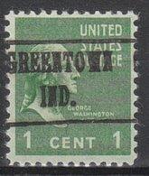 USA Precancel Vorausentwertung Preo, Locals Indiana, Greenstown 482 - Vorausentwertungen