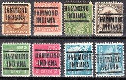 USA Precancel Vorausentwertung Preo, Locals Indiana, Hammond 204, 8 Diff. Perf. 1 X 11x11, 1 X 10x10, 6 X 11x10 1/2 - Vorausentwertungen