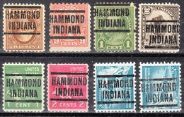 USA Precancel Vorausentwertung Preo, Locals Indiana, Hammond 204, 8 Diff. Perf. 1 X 11x11, 1 X 10x10, 6 X 11x10 1/2 - United States