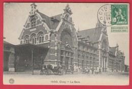 Ciney - La Gare ( Belle Animation , Attelage ) -1912 ( Voir Verso ) - Ciney