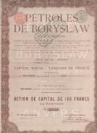 RUSSIE-PETROLES DE BORYSLAW. Action 100 F 1913. Capital 5 MF - Shareholdings