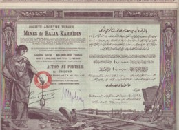 TURQUIE-MINES DE BALIA-KARAIDIN. Sté Ottomane. Capital De 40 MF. DECO - Shareholdings