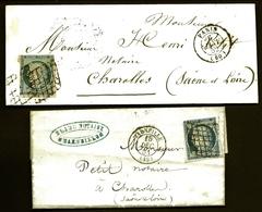 CP9- 8- LOT 2 LETTRES CLASSIQUES FRANCE- CERES N° 4 DE 1851 ET 1852- OBLITÉRATION GRILLES PROPRES- 4 SCANS - Storia Postale