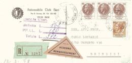 RACCOMANDATA ASSEGNO AUTOMOBILE CLUB BARI - 6. 1946-.. Repubblica