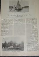 1923 Yatching à Voile & à Moteur Bateau Voilier - Article De 4 Pages Sur 2 Feuilles Volantes Avec Photos - Press Cutting - Bateaux