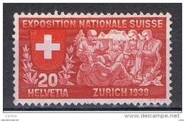 SVIZZERA:  1939  ESPOSIZIONE  DI  ZURIGO  -  20 C. CARMINIO  E  ROSSO  N. -  YV/TELL. 321 - Nuovi