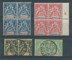 COLONIES FRANCAISES - MOHELI. 2 Blocs De 4 Neufs + 2 Paires Oblitérés.  Cote 100€. - Moheli (1906-1912)
