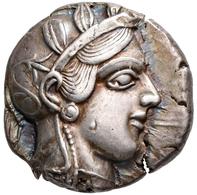Attika: AR-Tetradrachme Ca. 420/404 V. Chr., Athen, 17,15 G, Athenakopf Nach Rechts/ Eule, Prüfhieb, - Greek