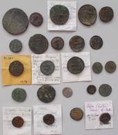 Antike: Lot Von 24 Antiken Münzen; Davon 21 Stück Aus Der Römischen Kaiserzeit, Sowie 1 X Bronzemünz - Antiche