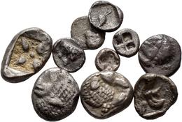 Antike: Lot 10 Münzen; Kleinasien, Ionien/ Stadt Milet, AR Diobol (514-479 V.Chr.). Löwenprotome R., - Antiche
