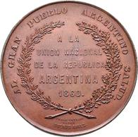 Argentinien: Bronzemedaille 1860 Von Pablo Cataldi Auf Die Vereinigung Von Buenos Aires Mit Der Konf - Argentina