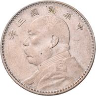 China: AR Dollar, Year 3 (1914), Yuan Shi Kai, KM Y-329, 26,65 G, Kl. Kratzer, Sehr Schön-vorzüglich - China