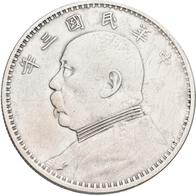 China: Lot 6 Münzen: 1 Dollar (Yuan) Präsident Yüan Shih-kai, Jahr 3 (1914, 5x), KM# Y 329, Und Jahr - China