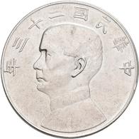 China: Lot 4 Münzen: 1 Dollar Jahr 23 (1934), Präsident Sun Yat Sen / Dschunke, KM# Y 345, 800/1000 - China