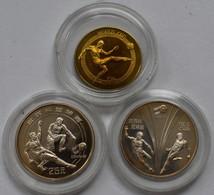 China - Volksrepublik: LOT 3 Münzen, Fußball WM 1982 In Spanien / World Cup: 1 Yuan 1982, Bronze, KM - China