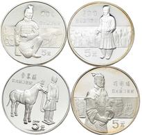 China - Volksrepublik: Lot 4 X 5 Yuan 1984, Serie Terrakotta Armee. Bogenschütze KM# 98; Offizier, K - China