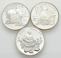 China - Volksrepublik: Lot 3 X 5 Yuan 1986, Serie Chinesische Kultur. Sima Qian KM# 141; Zhang Heng, - China