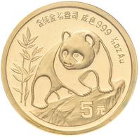 China - Volksrepublik - Anlagegold: Lot 2 Stück: 5 Yuan 1989, Goldpanda, KM# 183, Sowie 5 Yuan 1990, - China