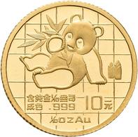 China - Volksrepublik - Anlagegold: Lot 2 Stück: 10 Yuan 1989, Goldpanda Sitzt, Bambus, KM# 223, Fri - China