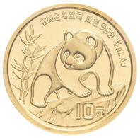 China - Volksrepublik - Anlagegold: Lot 2 Stück: 10 Yuan 1990, Goldpanda Am Fels, Bambus, KM# 269, F - China