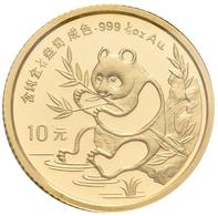 China - Volksrepublik - Anlagegold: 10 Yuan 1991, Goldpanda Am Fluß, Bambus, KM# 347, Friedberg B7. - China