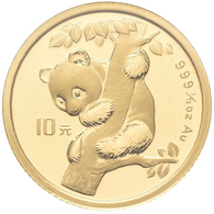 China - Volksrepublik - Anlagegold: 10 Yuan 1996, Panda Im Baum, KM# 884, Friedberg B7. 3,11 G (1/10 - China