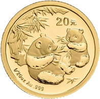 China - Volksrepublik - Anlagegold: Lot 2 Goldmünzen: 20 Yuan 2006, Goldpanda, KM# 1661. 1,56 G (1/2 - China