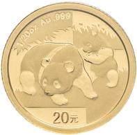 China - Volksrepublik - Anlagegold: 20 Yuan 2008, Goldpanda, KM# 1815, Friedberg B18. 1,56 G (1/20 O - China