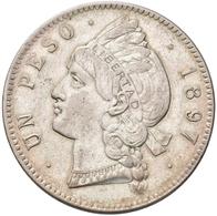 Dominikanische Republik: 1 Peso 1897, KM# 16, 25,06 G, Winz. Kratzer, Fast Vorzüglich. - Dominicana