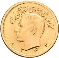 Iran - Anlagegold: Muhammad Reza Pahlavi Shah 1941-1979: ½ Pahlavi SH 1332 = 1953. KM# 1161, Friedbe - Iran