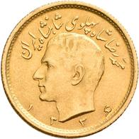 Iran - Anlagegold: Muhammad Reza Pahlavi Shah 1941-1979: ½ Pahlavi SH 1334 = 1955. KM# 1161, Friedbe - Iran