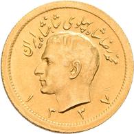Iran - Anlagegold: Muhammad Reza Pahlavi Shah 1941-1979: 1 Pahlavi SH 1337 = 1958. KM# 1162, Friedbe - Iran