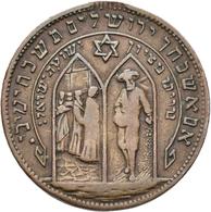Israel: Judaica: Bronzemedaille / Token 1882 Auf Die Gründung Der Siedlung/Kolonie Rishon LeZion In - Israel