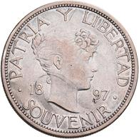 Kuba: 1 Peso 1897, SOUVENIR, KM XM 2; 22,17 G, Kl. Kratzer, Sehr Schön. - Cuba