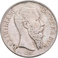 Mexiko: Maximilian I. 1864-1867: Peso 1866 Mo, Mexico City KM#388.1, 27,08 G, Winz. Kratzer, Sehr Sc - Mexico