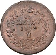 Mexiko: Lot 3 Münzen, Dabei Mexiko: 1 Centavo 1879; 1 Centavo 1891 (KM# 391.6); Costa Rica: 2 Reales - Mexico
