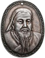 Mongolei: Dschingis Khan 1167-1227: Ovales Silber-Medaillon O.J., Auf Dschingis Khan, Brustbild Von - Mongolia
