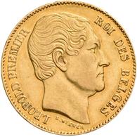 Belgien - Anlagegold: Leopold I. 1831-1865: 20 Francs 1865 L. WIENER, KM# 23, Friedberg 411. 6,43 G, - Non Classificati
