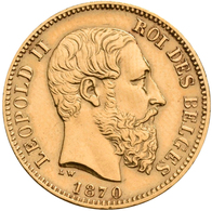 Belgien - Anlagegold: Leopold II. 1865-1909: 20 Francs 1870 LW (Pos. A), KM# 37, Friedberg 412. 6,43 - Non Classificati