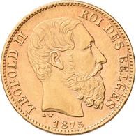 Belgien - Anlagegold: Leopold II. 1865-1909: 20 Francs 1875 LW (Pos. A), KM# 37, Friedberg 412, 6,43 - Non Classificati