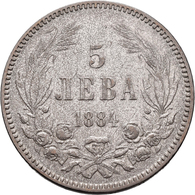 Bulgarien: Lot 2 Stück: 5 Leva 1884 (Alexander I.) Und 5 Leva 1892 (Ferdinand I.), Sehr Schön. - Bulgaria