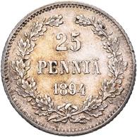 Finnland: Unter Russischen Herrschaft, Alexander III. 1881-1894: 25 Pennia 1894. KM# 6.2. Sehr Schön - Finland