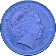 """Gibraltar: SET Von 2 Münzen: 160 Jahre """"Uniform Penny Post"""" - Blaue Mauritius, ½ Crown 2000 Mit Gold - Greece"""