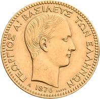 Griechenland - Anlagegold: George I. 1863-1913: 20 Drachmen 1876 A, KM# 49, Friedberg 15. 6,42 G, 90 - Greece