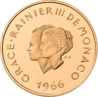 Monaco - Anlagegold: Rainier III. 1949-2005: 200 Francs 1966, 10 Hochzeitstag Mit Grace Kelly. Gad. - Monaco