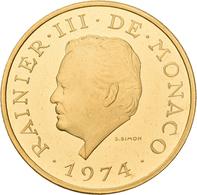 Monaco - Anlagegold: Rainier III. 1949-2005: 3000 Francs 1974, 25. Jähriges Regierungsjubiläum. Gad. - Monaco